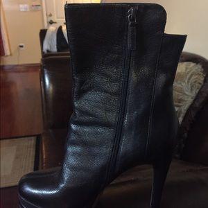 Black zippered heeled booties